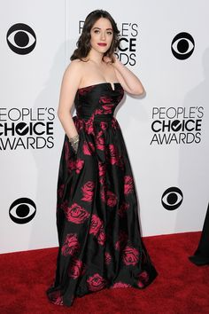 Kat Dennings in a rose print at the People's Choice Awards 2014