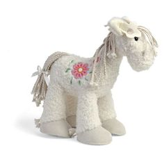 Soft and cuddly Fair Horse from Happy Horse with a beautiful embroidered flower on her back. Being white you might worry about how dirty she's going to get? Never fear this beautiful toy goes in the washing machine!