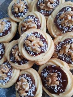 Cookies with walnut and chocolate glaze. Romanian Desserts, Romanian Food, Desserts For A Crowd, Easy Desserts, Cookie Desserts, Cookie Recipes, Walnut Cookies, Chocolate Glaze, Chocolate Cookies