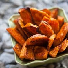 Oven Baked Sweet Potato Fries-Crinkle Cut and bake on racks for extra crispyness