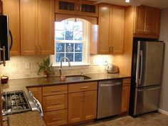 Small L Shaped Kitchens traditional kitchen with subway tile, l-shaped, pendant light