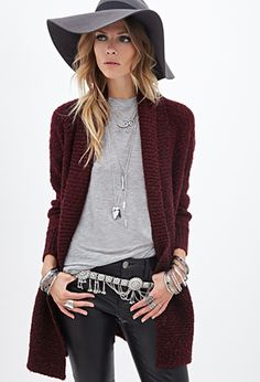 Wine sweater with neutrals, great look for fall Textured Knit Cardigan | FOREVER21 - 2000101565