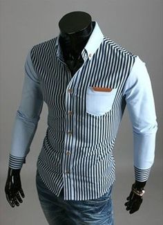 PU Leather Spliced One Patch Pocket Hit Color Slimming Turn-down Collar Long Sleeves Striped Shirt For Men Cheap Mens Shirts, Mens Shirts Online, Men Shirts, Shirt Men, Tailored Shirts, Casual Shirts, Striped Long Sleeve Shirt, Long Sleeve Shirts, Beard Suit
