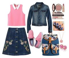 """""""Pink denim...so 90's"""" by tori-holbrook-th on Polyvore featuring Topshop, WithChic, prAna, Keds, Bueno, Charlotte Tilbury, London Road and Brumani"""