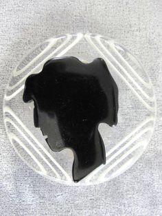 Lucite Bakelite Cameo Brooch Reverse by victoriajamesdesigns