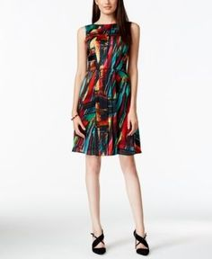 Ellen Tracy Pleated Multicolor Fit & Flare Dress - Gray 16