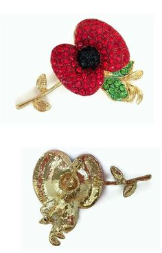 Pretty Red Crystal Remembrance Poppy Brooch pin in Gold Tone