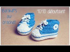 Baskets au crochet (Taille naissance à 12 mois) Partie 1/2 TUTO pour débutants - YouTube