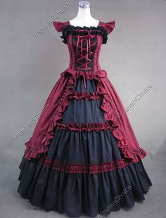 Victorian Gothic Lolita Dress Ball Gown Women Halloween Costume Steampunk