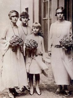 Princesses Theodora, Cecilie, Sophie and Margarita of Greece and Denmark, the sisters of Prince Philip of Greece and Denmark, present Duke of Edinburgh.