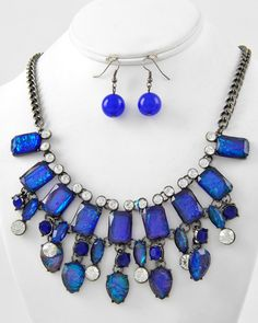 Hematite Tone / Blue Ab Acrylic & Clear Rhinestone / Lead Compliant / Charm / Necklace & Fish Hook Earring Set