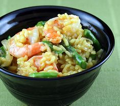 Saffron risotto with shrimp and asparagus@ Chloe El-Amin, this is the risotto you can make for me!