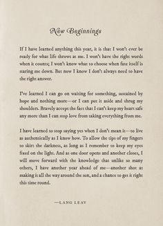 'New Beginnings' – Lang Leav – Fly Above The Clouds Poetry Quotes, Words Quotes, Wise Words, Life Quotes, Qoutes, New Year's Quotes, Lang Leav Quotes, New Year Inspirational Quotes, Uplifting Quotes