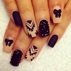 Matted Black and beige Aztec print and bow with studs nail design ღ By Riyathai87 on Instagram