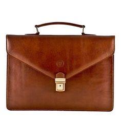 Maxwell Scott The Lorenzo Small Leather Briefcase Chestnut Tan