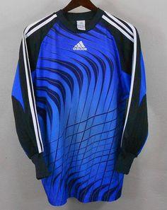 72ac96b9f Adidas Soccer Goalie Jersey MEDIUM Blue Black Futbol Mens Padded Elbows # adidas