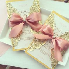 Gold Invitation by cardsevents on Etsy