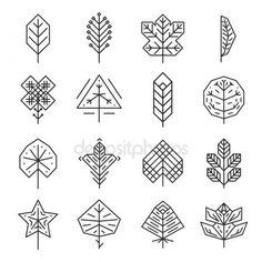 Descargar - Línea geométrica hipster deja para logos y emblemas — Ilustración de stock #82665272