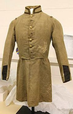 """/Lt. Harvey Graham, Company """"B"""", First Iowa Infantry ~ I am fascinated by the choice of fabric for this Federal uniform.  I have never seen something resembling butternut used in the North.  Pinned from Rob."""