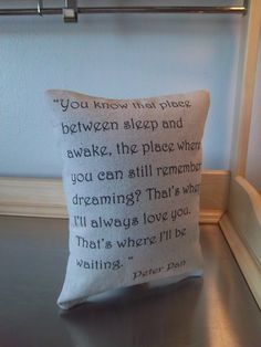 Peter Pan  pillow handmade love quote baby por SweetMeadowDesigns