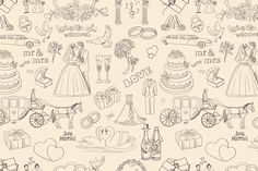 Seamless Pattern With Wedding Icons, - Patterns - 1