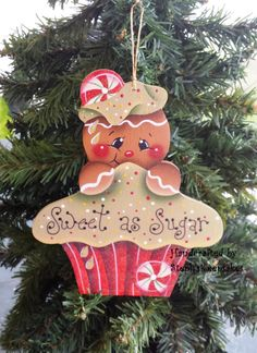 *TOLE - TALLY CUTE! ~ Handpainted Wooden  Christmas Gingerbread  Cookie, Christmas Ornament