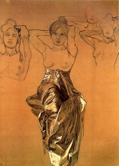 Alfons Mucha, Study of Drapery, 1900.