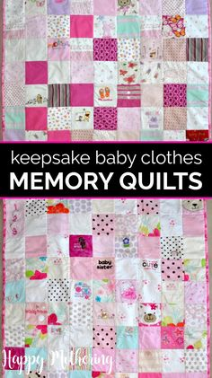 Have you ever thought about making a memory quilt from your child's baby clothes? We'll show how we stopped putting it off and got our keepsake memory quilts made! They make great baby shower and wedding gifts for sons and daughters. #babygifts #babyquilts #quilts #quiltmaking #babyclothes #babyclothesquilt #memories #memorygifts #memoryquilts #giftideas #babyshowers #babyshowerideas #babyshowergifts #howto #babies Quilt Baby, Baby Memory Quilt, Baby Girl Quilts, Girls Quilts, Memory Quilts, Baby Clothes Blanket, Sewing Baby Clothes, Baby Clothes Patterns, Trendy Baby Clothes