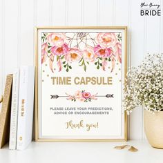 Pink and Gold Wedding Time Capsule Printable Sign. Boho Floral Wedding Guest Book Alternative. Dreamcatcher Bohemian Flowers Decor