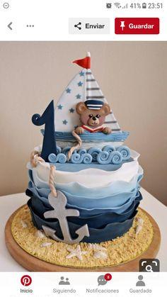Nautical Birthday Cakes, Nautical Cake, Themed Birthday Cakes, Themed Cakes, Baby Shower Deco, Shower Bebe, Baby Shower Cakes, Sailor Birthday, Baby First Birthday