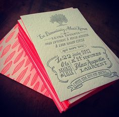 Ladyfingers Letterpress Ceremony card for a French Wedding Invite. On duplexed paper with neon pink edge painting