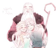 Jack Frost, Elsa and North Disney Kunst, Arte Disney, Disney Fan Art, Jack Frost Und Elsa, Jack Y Elsa, Couple Disney, Disney Couples, Frozen And Tangled, Disney Frozen