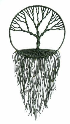 macrame - tree of life wall hanging - makramilka - awesome MaisDíszek a falon & Decor pereteOrnaments on the wall / Decor peretoI like the single color, could also add beadsgotta love that tree Crafts To Do, Yarn Crafts, Arts And Crafts, Diy Crafts, Los Dreamcatchers, Art Macramé, Arte Linear, Metal Tree Wall Art, Macrame Projects