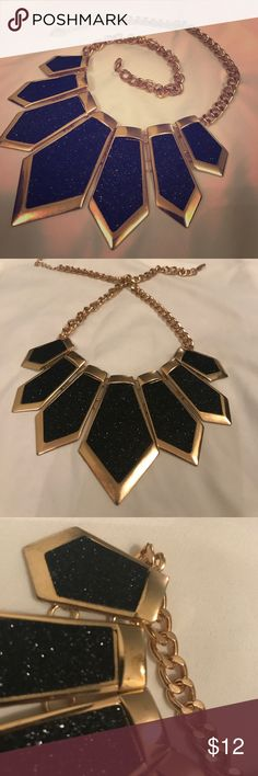 "Aldo Sparkle Necklace 🖤 You've gotta love this beautiful, geometric statement necklace. Matte black with a layer of sparkle edged by a golden finish 🖤 the largest pendant is 3"" long, minor finish smudge (reference 3rd photo)🖤 make an offer.... Aldo Jewelry Necklaces"