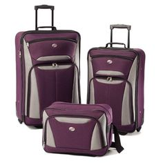 New Trending Luggage: American Tourister Luggage Fieldbrook II 3 Piece Set, Purple/Grey. American Tourister Luggage Fieldbrook II 3 Piece Set, Purple/Grey   Special Offer: $52.10      377 Reviews Travel is style with this 3 piece set thatUltra light-weight constructionReinforced corners defend against the harshest travel conditionsMultiple exterior and interior pockets keep you...