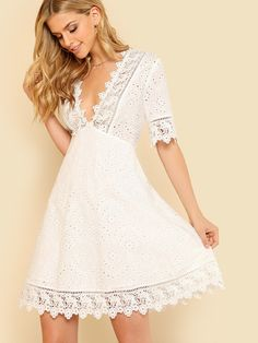Lace Trim Eyelet Embroidered Dress Women White Deep V Neck Half Sleeve Cut Out Plain Dress 2018 Summer Sexy Cotton Dress Boho Dress, Lace Dress, White Dress, White Lace, Fit N Flare Dress, Fit And Flare, Vestidos Country, Shein Dress, Deep V Neck Dress