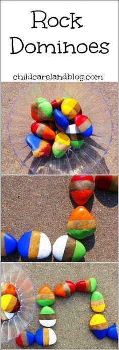 Fun Kids Outdoor Learning and Play Activity - rock dominoes by childcareland blog