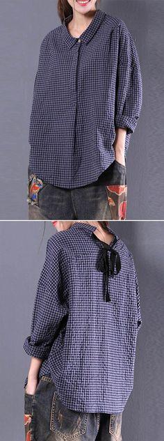 [Newchic Online Shopping] 46%OFF Women's Vintage Blouses | Women's Plaid Blouses | Long Sleeve Blouses | Irregular Blouses | Tie Back Blouses | Lapel Blouses for Women #blouses #womensfashion #winterfashion