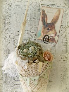 Handmade Easter Decoration Vintage Easter Decor by QueenBe