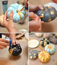 Tablescape idea DIY: Painted Pumpkins + Fall Centerpieces AGHHH SOOO FUN!! This would be a blast for Joshua and I to craft together :)