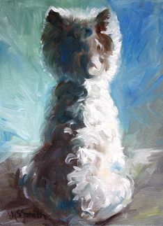 Mary Sparrow Smith from Hanging the Moon – dog art, pets, portrait, paintings, gift ideas, home decor. Westie West Highland Terrier