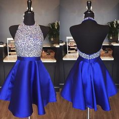 halter homecoming dress,beaded prom gowns,short prom dress 2017,royal blue homecoming dress,graduation dress,short cocktail dress,party dress