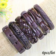 ethnic tribal genuine adjustable dark brown jewelry wrap braid leather bracelet -S08