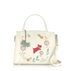 Springtime - This beautiful bag's floral design features Radley himself, climbing blossom and flowers in screen-printed and appliquéd detail for a colourful, multi-textural effect, standing out against a cream-coloured leather base.