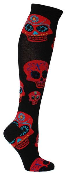 Muertos Knee High | Fun Holiday Socks for Women | The Sock Drawer http://www.skullclothing.net