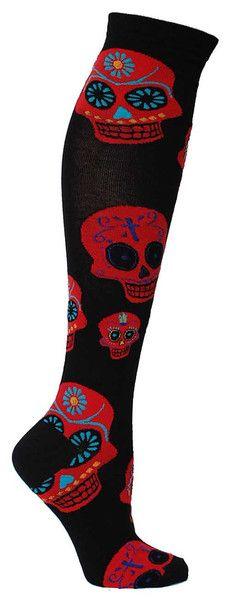 Muertos Knee High | Fun Holiday Socks for Women | The Sock Drawer http://www.skullclothing.net