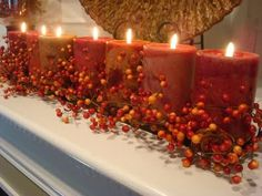 Autumn mantle decoration.  Wish I had a mantle.....                                                                                                                                                                                 More Candle Centerpieces, Thanksgiving Centerpieces, Centerpiece Ideas, Thanksgiving Mantle, Table Decorations, Warm Autumn, Autumn Home, Autumn Mantel, Autumnal
