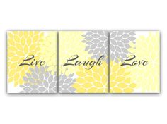 Home Decor Wall Art, Live Laugh Love, Yellow Wall Art, Flower Burst Bathroom Wall Decor, Yellow and Grey Bedroom Wall Art - HOME54 on Etsy, US$20,00