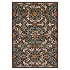 Anchor your patio seating group or dining table in classic style with this loomed rug, showcasing a medallion motif in chocolate and aqua. ...