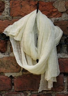 Linen Scarf Shawl Wrap Stole milk white Light by Initasworks